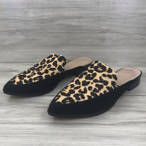 Halogen Corbin Leopard calf hair mule flats sz 8.5